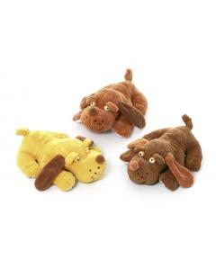 DOG PLUSH WAUZIE  WITH SQUEEKER ASSORTED COLOURS 23cm