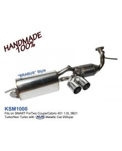 Smart Fortwo 1.0 Mk2 W451 Stailess Steel Exhaust Muffler with tuning cat  200 cpsi