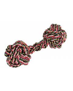 Cotton knot XXL dumbbells L 27 cm multicoloured-black
