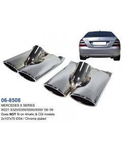 Mercedes S Class Stainless Steel Chrome Plated Exhaust Tips Dual Set