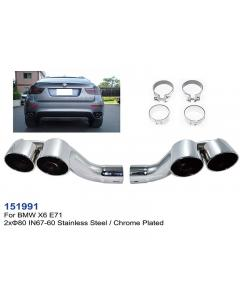 BMW X6 E71 Stainless Steel Chrome Plated Exhaust Tips, Left and Right