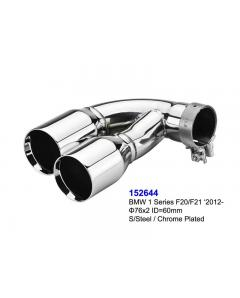 BMW F20 Series 1 Hatchback Chrome Plated Exhaust Tips 76mm