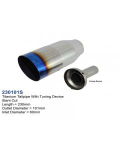 Universal Titanium Exhaust Tip Round Burnt Slant D101 L230 IN60 with Silencer