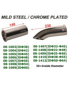 Universal Mild Steel Chrome Plated Exhaust Tip, Universal Mild Steel Chrome Plated Exhaust Tip Turndown
