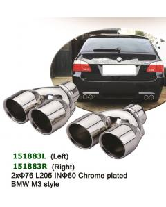 universal Stainless Steel Chrome Plated Exhaust Tips Dual 2x76 L205 IN57