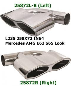 universal Stainless Steel Exhaust Tips Viper Eyes Mercedes AMG S65 Look 90 Degrees 258x72 L235 IN64