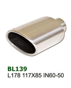 Universal Stainless Steel Exhaust Tip Oval 117x85 L178 60-50mm