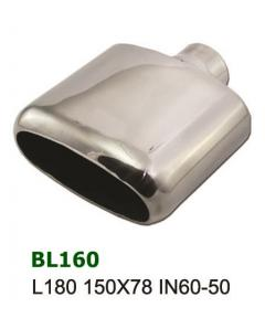 Universal Stainless Steel Exhaust Tip Oval Full 150x78 60-50mm