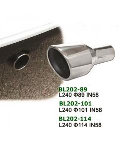 Universal Stainless Steel Exhaust Tip Round Slant VW R32 Style L240 IN58