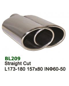 Universal Stainless Steel Exhaust Tip Dual Oval 157x80 L173-180 IN60-50