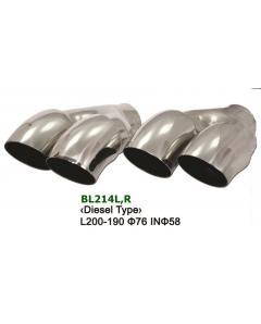 Universal Stainless Steel Exhaust Tip Dual Diesel Type 2x76 L190-200 IN58 Set