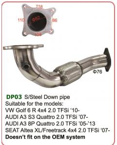 Stainless Steel Down pipe for Audi, VW, Seat