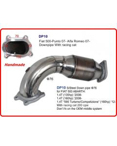 Downpipe 3 76mm for FIAT 500 ABARTH 1.4T with Cat