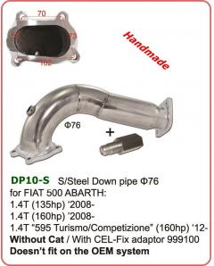 Ανοξείδωτο Down pipe 76mm for FIAT 500 ABARTH 1.4T