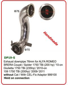 Χειροποίητο ανοξείδωτο downpipe 76mm for A. ROMEO BRERA Coup  Spider 1750 TBi without Cat