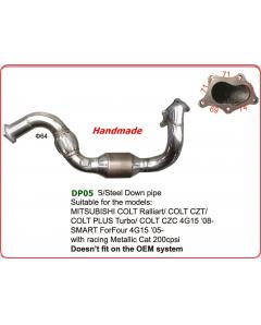 Stainless Steel DOWN PIPE SMART ForFour 4G15 05- with racing Metallic Cat 200 cpsi