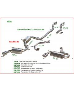 Stainless Steel Exhaust system with muffler middle section and racing cat for SEAT LEON CUPRA 2.0 TFSi 06-08