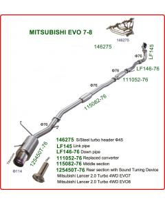 Stainless steel Exhaust system with racing cat, without exhaust manifold, for Mitsubishi EVO 7-8