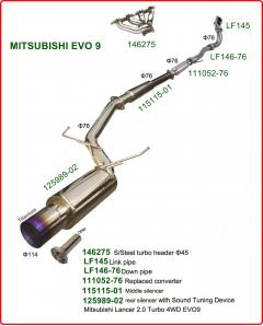 Stainless steel Exhaust system with racing cat, without exhaust manifold, for Mitsubishi EVO 9