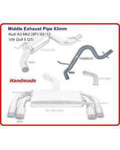 Audi A3, Seat, Golf 5 Middle Pipe without Muffler 64mm
