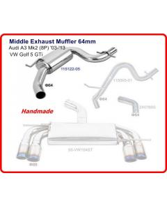 Audi A3 MK2 8P 03-13, Golf 5 GTi Middle Muffler 64mm