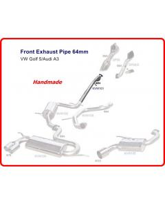 Audi A3, Golf 5  Front Exhaust Pipe 64mm
