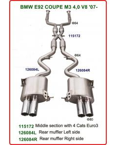 Stainless steel Exhaust System with 4 Racing Cat Euro3 BMW M3 E92
