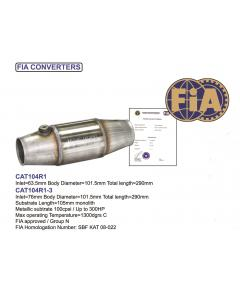 Motorsport Catalytic Converter up to 300HP with FIA Homologation 100CPSI