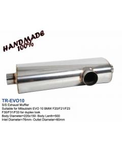 Mitsubishi Evo 10 Handmade Stainless Steel Exhaust Muffler Oval, 220x150, L520, IN76, OUT60