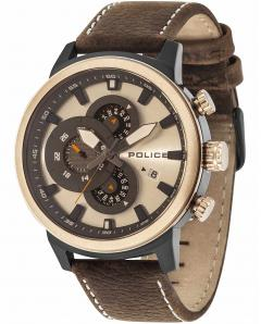 ΡΟΛΟΙ POLICE Explorer Chronograph Brown Leather Strap