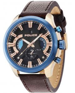 ΡΟΛΟΙ POLICE Cyclone Rose Gold Brown Leather Strap