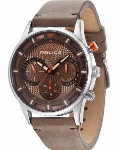 ΡΟΛΟΙ POLICE Driver Mens Multifunction Brown Leather Strap