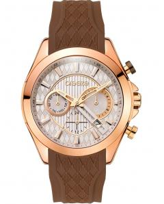 BREEZE 110801.5 Ferosh Dual Time Brown Silicone Strap