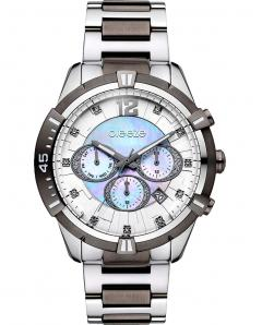BREEZE 610811.6 Skylander Dual Time Crystals Two Tone Stainless Steel Bracelet