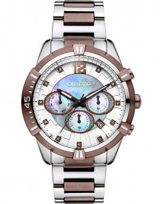 BREEZE 610811.5 Skylander Dual Time Crystals Two Tone Stainless Steel Bracelet