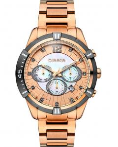 BREEZE 210811.6 Skylander Dual Time Crystals Rose Gold Stainless Steel Bracelet
