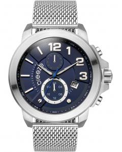 BREEZE 610732.3 Hommage Dual Time Silver Stainless Steel Bracelet