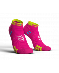 COMPRESSPORT V3 LO RUN PRO RACING SOCKS -fluo Ροζ