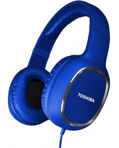 TOSHIBA AUDIO BLUETOOTH SPORT RUBBER COATED STEREO HEADPHONE BLUE