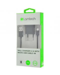 LAMTECH WALL CHARGER 2.1A WITH MICRO USB CABLE 1M BLACK