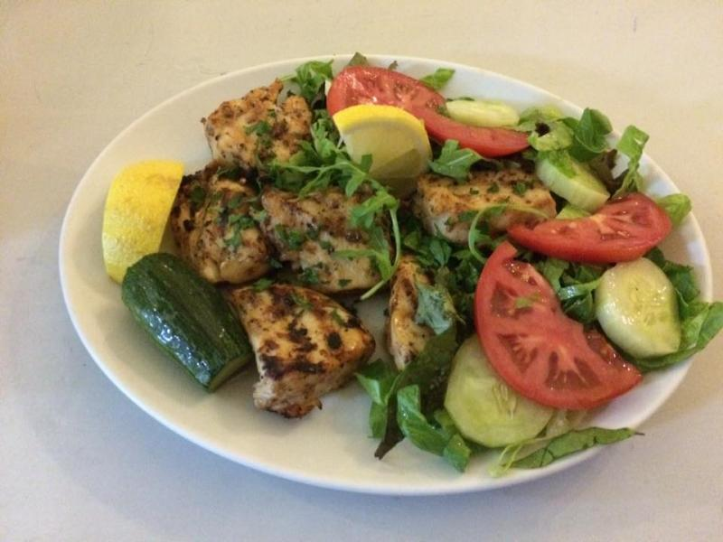 Chicken Souvlaki with fresh green salad