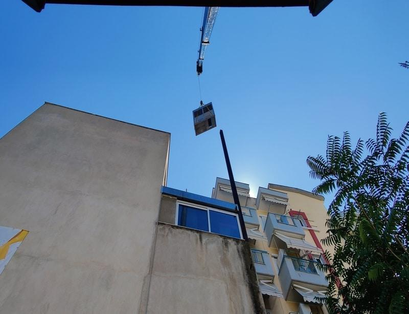 air conditioner installations with crane